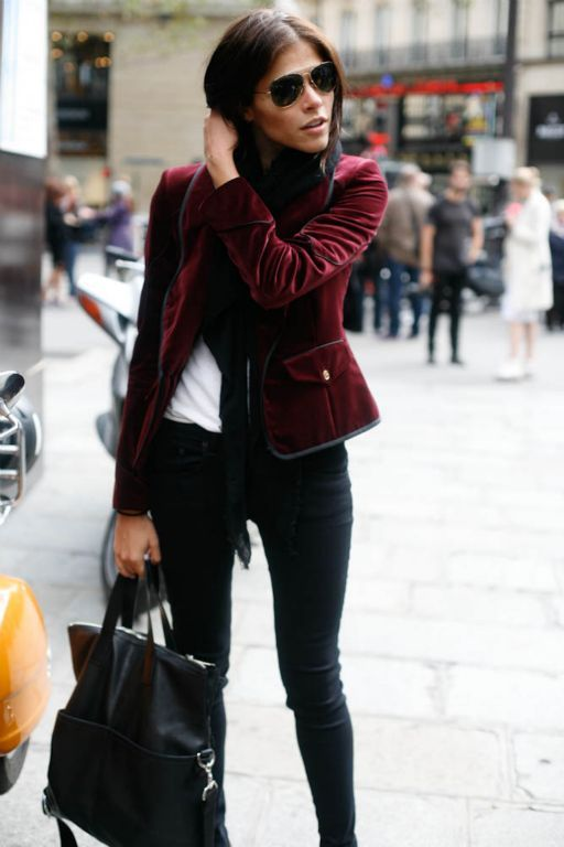 Everyday gadding about outfit- velvet blazer, skinny jeans, briefcase, sunglasses, t shirt or blouse. Buy the jacket and jeans secondhand.