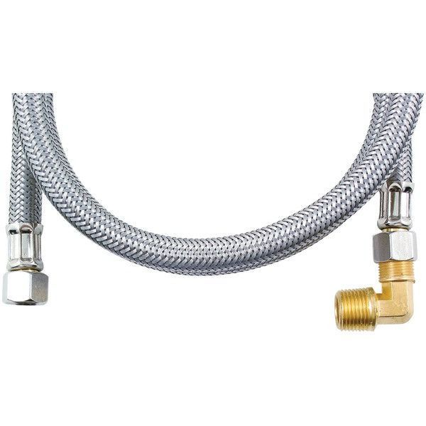 Braided Stainless Steel Dishwasher Connector with Elbow (4ft) - CERTIFIED APPLIANCE - DW48SSBL
