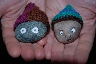 With knitted hats