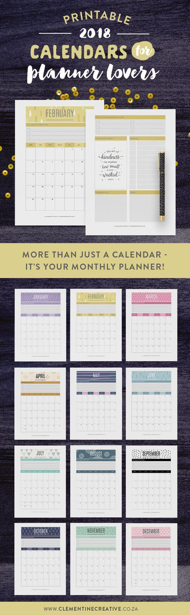 It's more than just a calendar - it's your monthly planner! Keep up with events, important dates, birthdays, exams or even your fitness routine with this modern printable 2018 calendar. Be inspired throughout the month by the motivational quote and write down reminders, bills to pay, etc. Click here to buy.