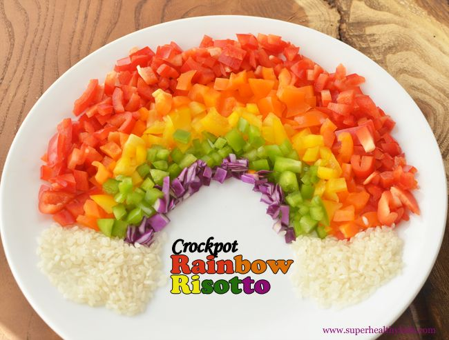 If you are wondering what veggies you are going to add to your dinner tonight, try using your crockpot!  We added a rainbow of bell peppers to our cheesy crockpot risotto! It's so much easier in the crockpot than standing over a hot stove top for 30 minutes. #healthycrockpot #risotto #bellpeppers