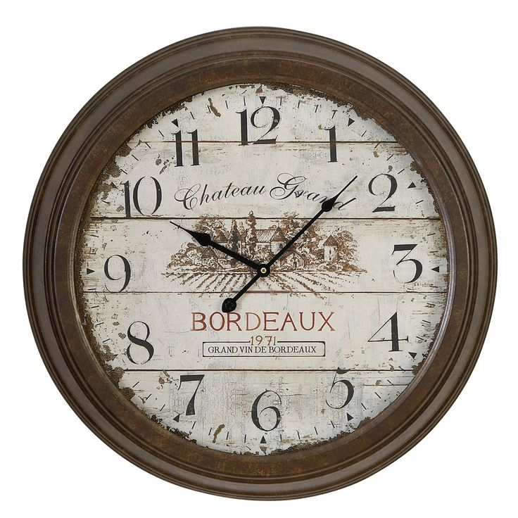 "Urban Oversized 23"" Chateau Grand Weathered Vintage Classic Wall Clock"