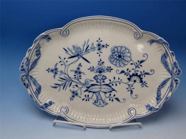 16in long x 11.5in wide. Antique German Meissen Crossed Swords Blue Onion Oval Platter Ribbon Handled