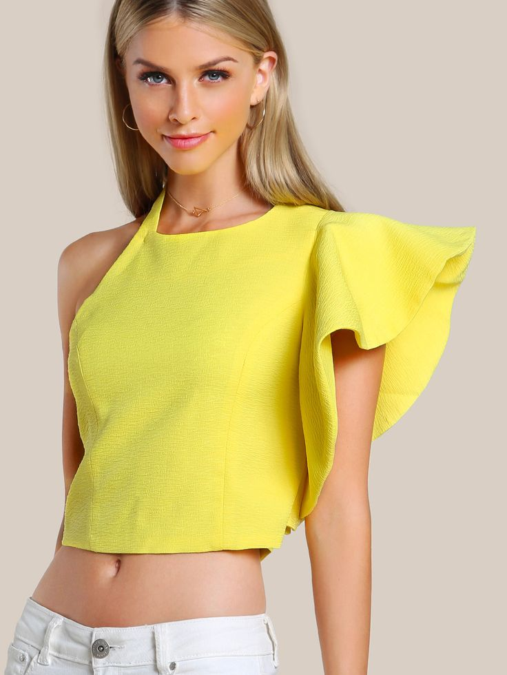 Shop Ruffle Sleeve Cold Shoulder Shirt YELLOW online. SheIn offers Ruffle Sleeve Cold Shoulder Shirt YELLOW & more to fit your fashionable needs.