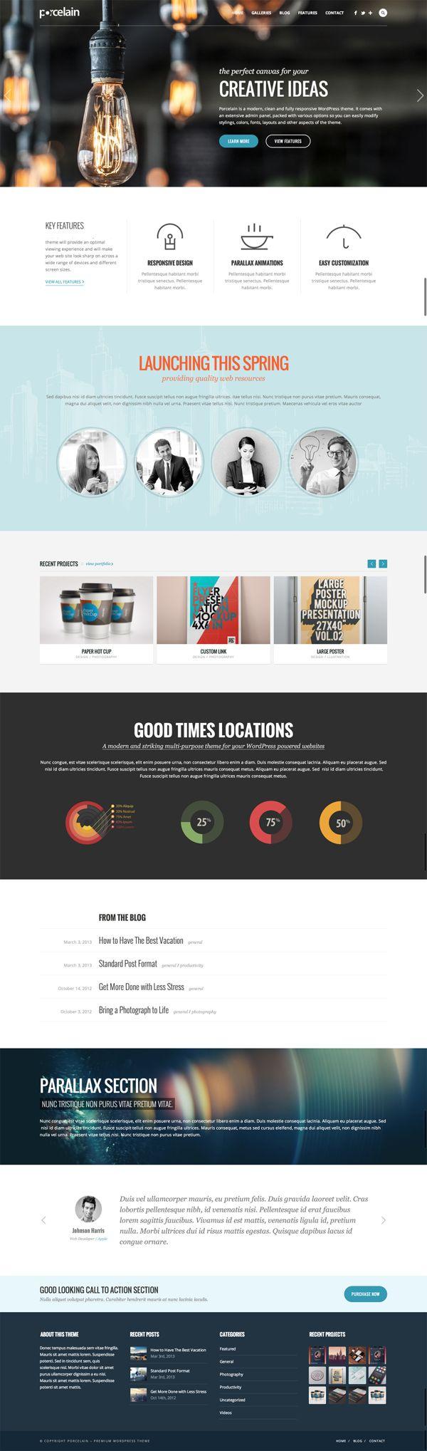 Porcelain CreAtive WP Th. by WordPress Design Awards , via Behance