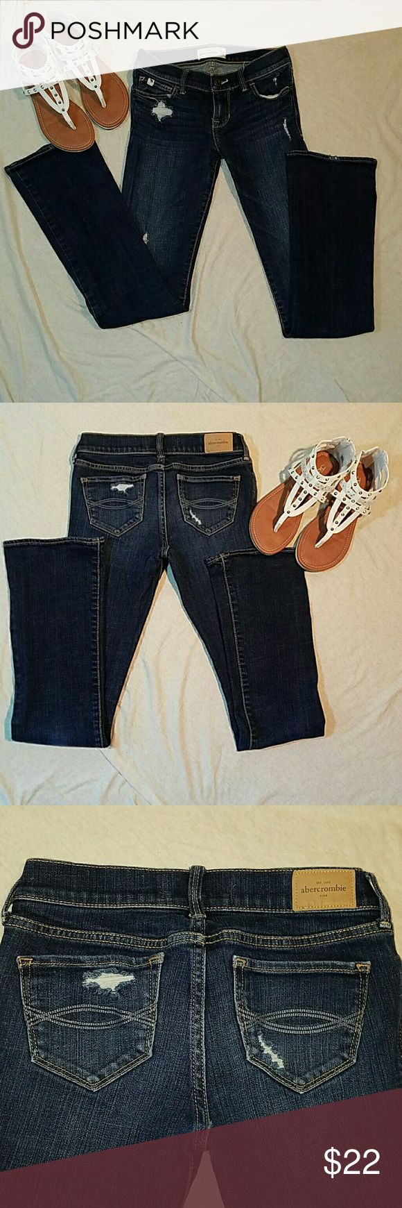 Abercrombie Girls 14 slim distressed girls Jeans Like new girls dark wash distressed Abercrombie 99% cotton 1% elastane bootcut Abercrombie & Fitch Bottoms Jeans