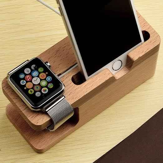 Display and charge your device with the multi-function Wood Charging Dock.  Specially designed to dock your smart phone and/or smart watch while charging.  Wooden stand is a solid build for better stabilization.  Two cutouts allow for charging of both devices while hiding unsightly cords.  Natural wood looks classy in your home or office.  Multifunction cradle holds your iWatch, iPhone, Samsung and more Keeps your desk or counter neat Block stand is sturdy yet lightweight Neutral wood color…
