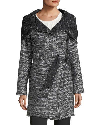 Chunky Tweed Oversized-Hood Jacket