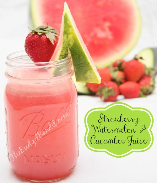 100% Natural Delicious Strawberry Watermelon & Cucumber Juice #Recipe (no sugar added)- The Budget Bandit