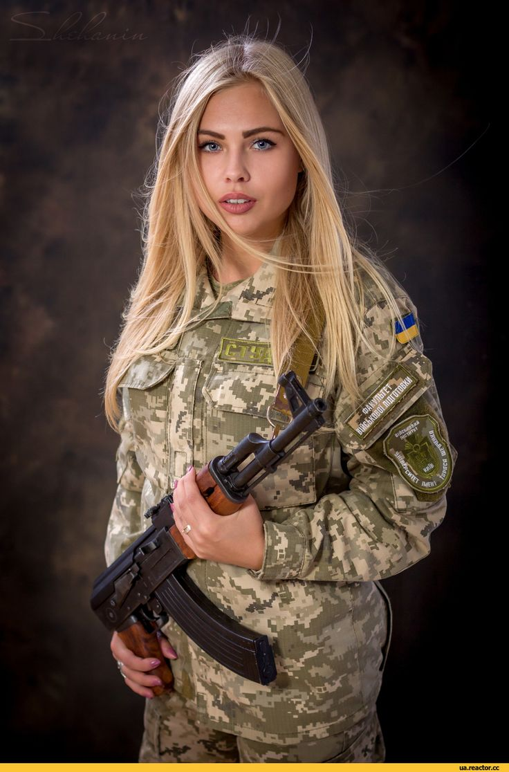 Blonde girl in camo star