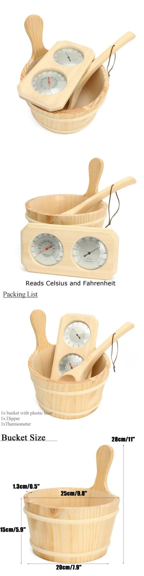 Saunas 181054: 3Pcs Set Pine Wood Sauna Accessory Set Bucket Thermometer Hygrometer Spoon D -> BUY IT NOW ONLY: $48.99 on eBay!
