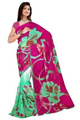 Ratnapriya Printed Synthetic Georgette Saree Sarees on Shimply.com