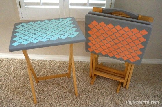 Repainted tables - - maybe color my tv tables to match the corner table I'm about to refurbish