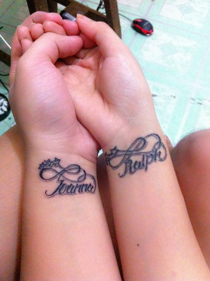 Cute Name Tattoos: Infinity Tattoo With My Name On My Boyfriend's Wrist And