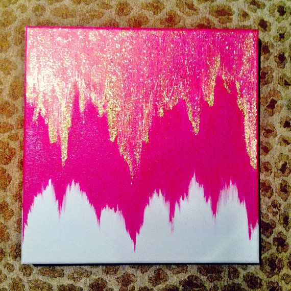 Love the colors pink and gold-Canvas by bkraftybybethany on Etsy