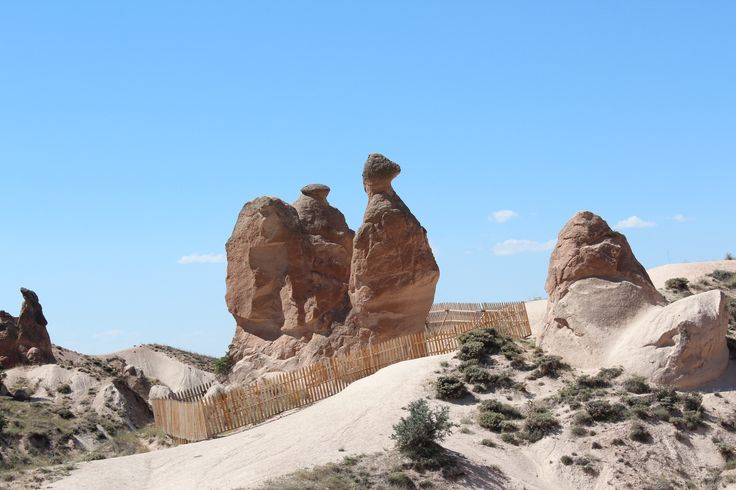 One of the many unique rock formations seen in Cappadocia, Turkey.