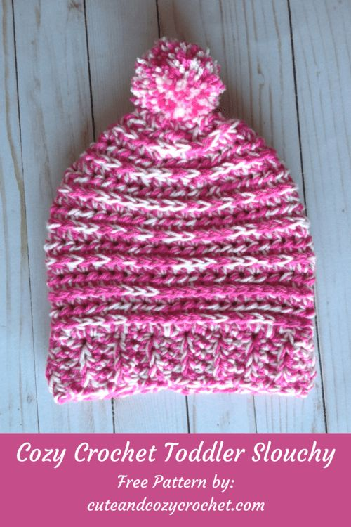 Cozy Crochet Toddler Slouchy | Free Crochet Pattern | Hat | Pom Pom | Half Double Crochet | HDC | I Love This Yarn! | Hobby Lobby | Craft | Crochet | Yarn | L Hook | 8 mm Crochet Hook | Winter Crochet | Blog