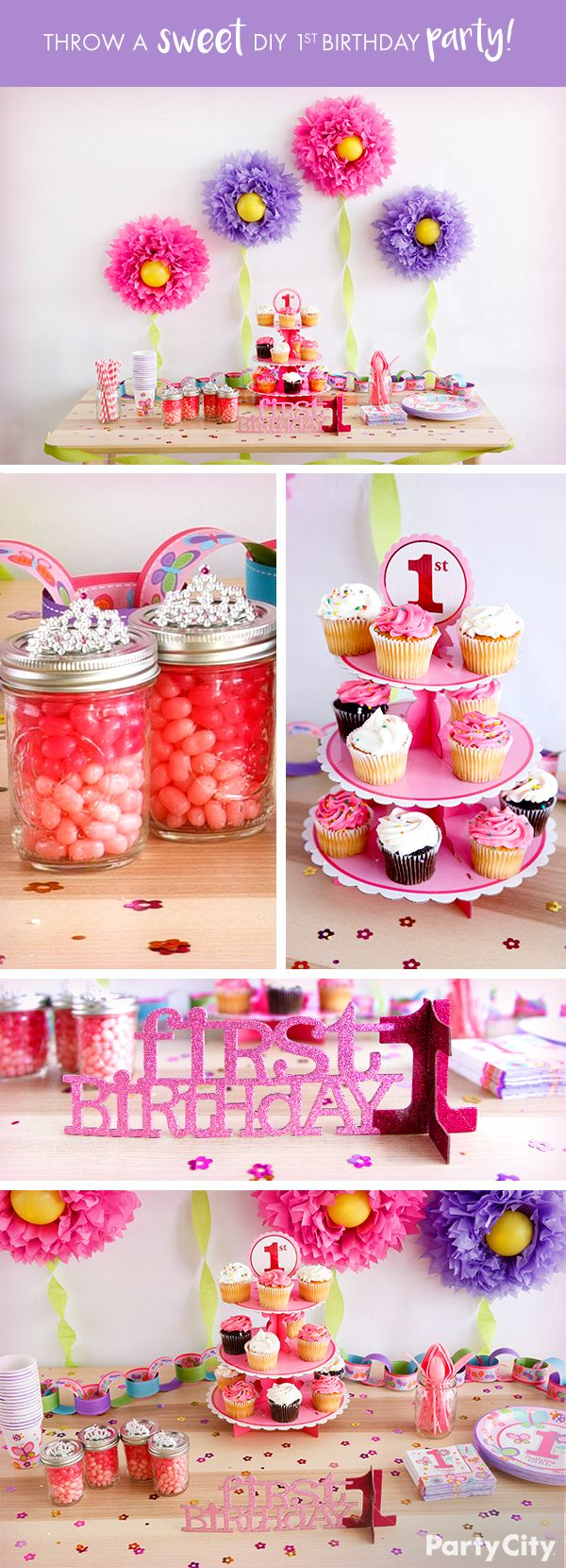 Create a sweet scene for your little princess's 1st birthday! First, make wall décor using fluffy decorations, balloons and streamers. Then place cupcakes on a stand and arrange straws and cutlery in mason jars. Place a birthday centerpiece at the front of the table. Add a finishing touch with garland and confetti. Assemble favors using a mason jar filled with jelly beans, then top with a tiara. Watch the look on your little girl's face when she sees the adorable décor!