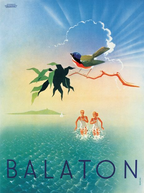 György Konecsni's travel poster, 193x Lake Balaton, Hungary    Notice how the water does not go over their thighs.