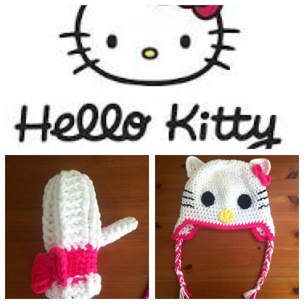 Hello Kitty Mittens Knitting Pattern : 48 Best images about Crochet - Hello Kitty on Pinterest Bow clip, Hello kit...
