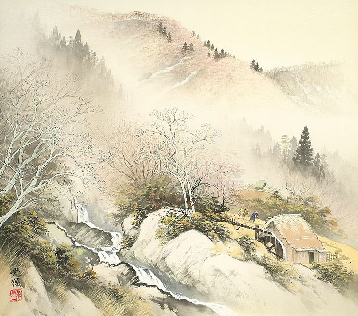 Природа в стиле сансуй. Японские пейзажи кисти Koukei Kojima   Картины и Репродукции