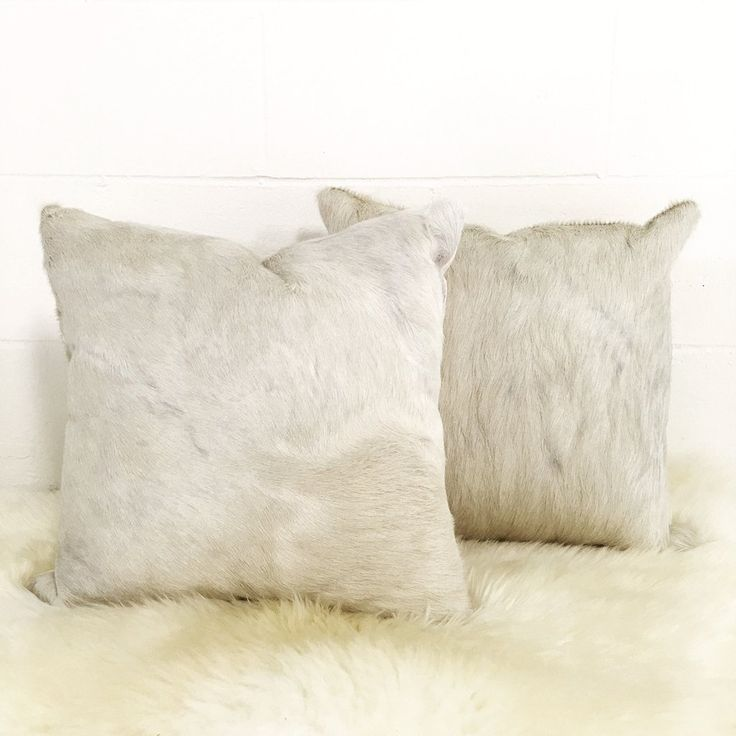 Rare Ivory Cowhide Pillows