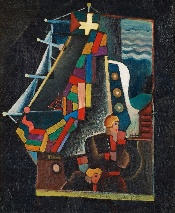 Gösta Adrian-Nilsson (Swedish, 1884-1965), Composition with ships and figures. Canvas, 46 x 38 cm.