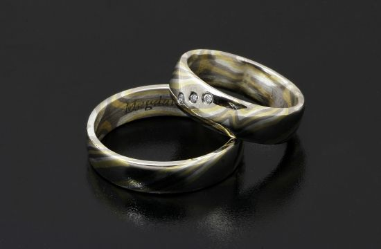 #Rings by #Bielak  #unique rings from Poland  yellow gold / palladium  #mokume gane #inspirations