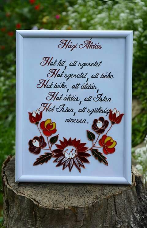 Hand made glass painting. Hungarian home blessing.