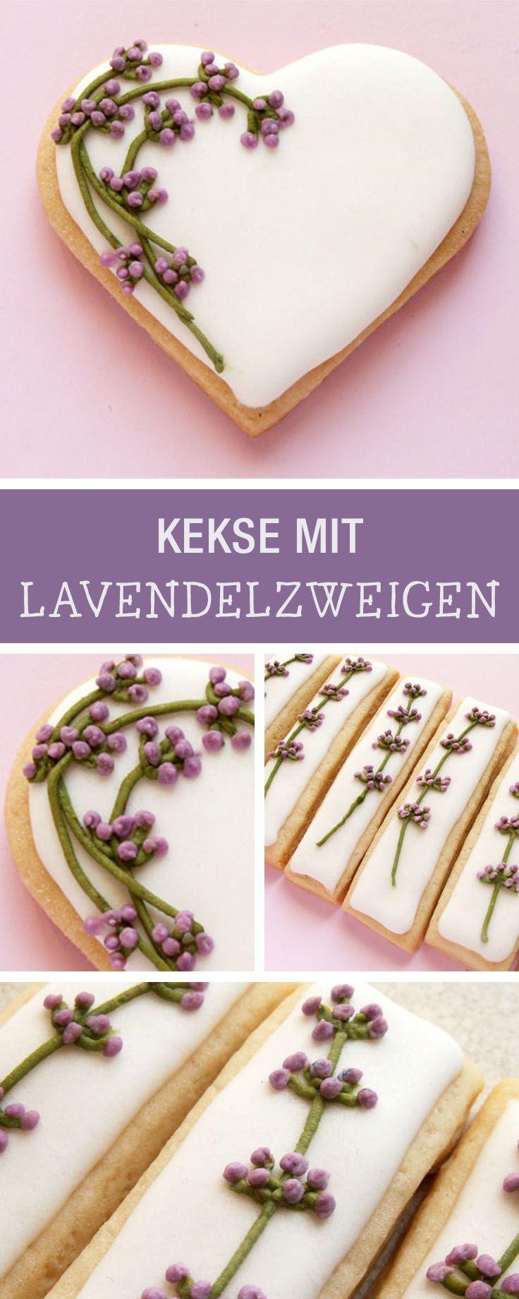 Rezept für Kekse mit Lavendel-Dekor / decorate your cookies with lavender branches via DaWanda.com