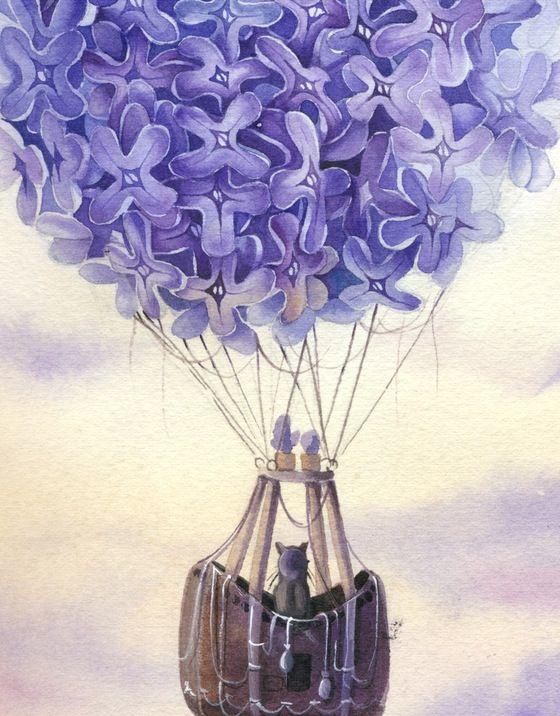 image of lilac air balloon peinture pinterest mongolfiere id e dessin et peinture. Black Bedroom Furniture Sets. Home Design Ideas