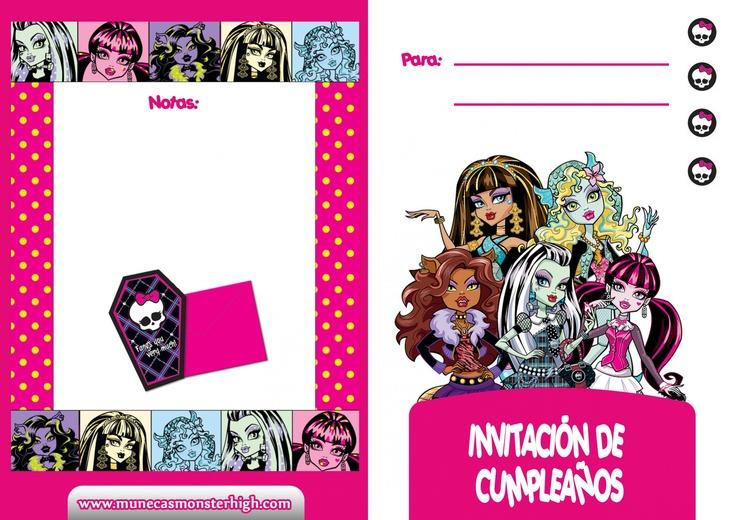 tarjetas de cumpleaños para imprimir y escribir invitacion2 monsterhigh jpg Imagenes Pinterest