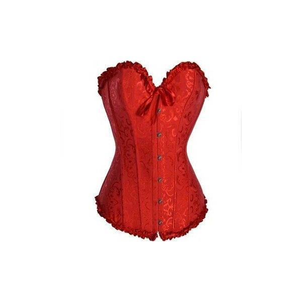 Women Sexy Jacquard Lace Up Corset Waist Training Satin Overbust... ($15) ❤ liked on Polyvore featuring intimates, corset & bustiers, red, lace up bustier, corset bustier, training corset, front lace corset and bustier corset