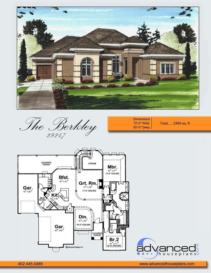 29247 Berkeley A surprising amount of finished space awaits inside this luxuriously appointed Mediterranean style 1-story house plan. From the entry area, c