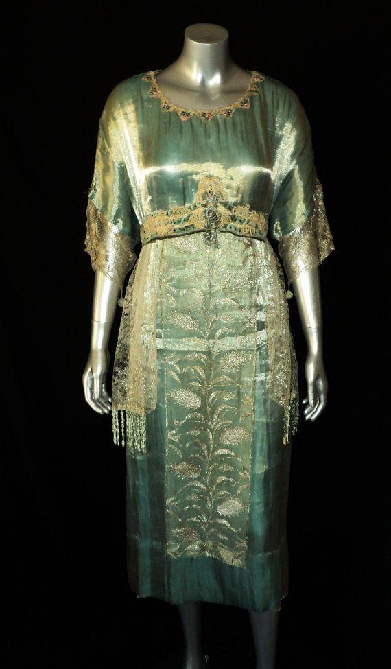 Edwardian Lame Gown 1910's Original Metallic Lace Velvet Sash Floral Collar Chenille Fringe