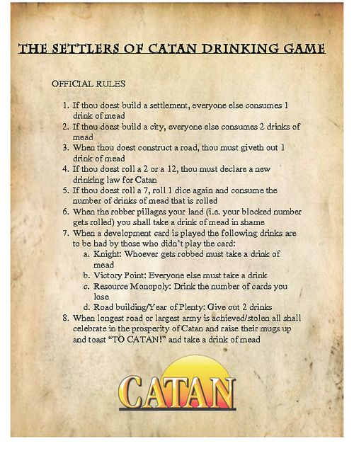 Settlers of Catan drinking game--Mead is a little gross (too sweet) . . . what about vodka? Does that work?