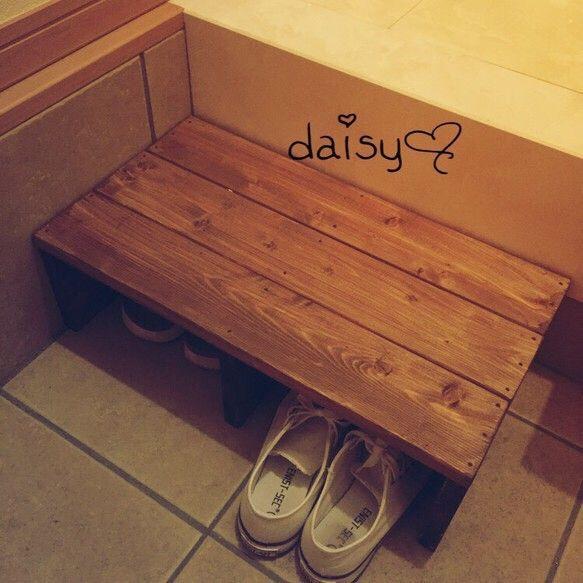玄関踏み台 靴収納 靴箱 無垢 木製 アンティーク|その他家具|daisy♡|ハンドメイド通販・販売のCreema