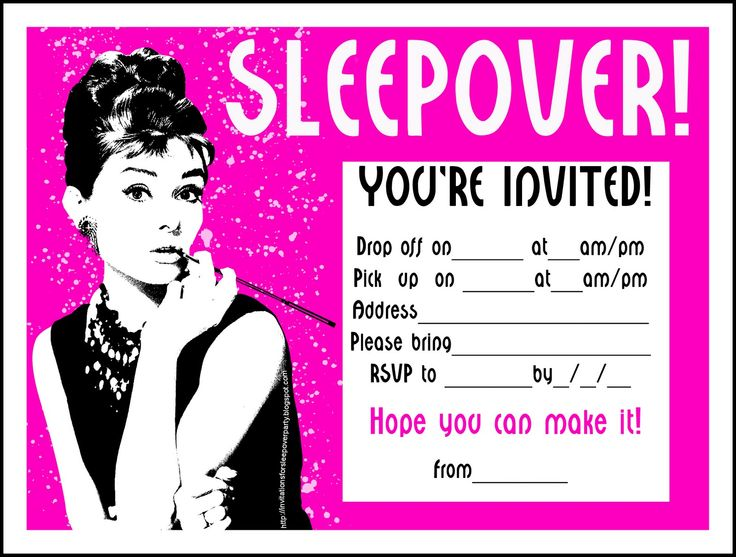 140 best Free Sleepover Invitations images – Free Printable Slumber Party Invitation Templates
