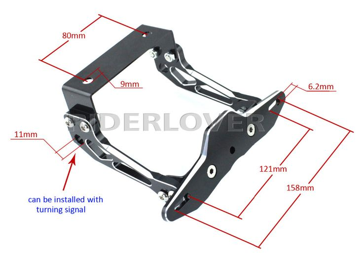 CNC Universal Motorcycle License Number Plate Holder Mount ...