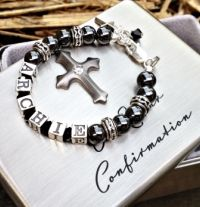 """Boys """"Leap Of Faith"""" Name Bracelet  The perfect modern gift for a boys first Eucharist.  Find it at www.giftedmemoriesjewellery.com.au"""