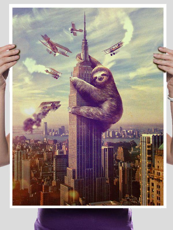 Slothzilla 18x24 Print: Wall Art, Slothzilla Iphone, Iphone Cases, Empire States Building, Sloths Kong, King Kong, T Shirts, U.S. States, King Sloths