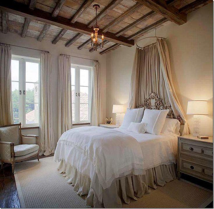 beautiful+neutral+bedroom+exposed+beams+canopy+ornate+headboard+via+ARWAV+on+FB.jpg 800×779 pixels