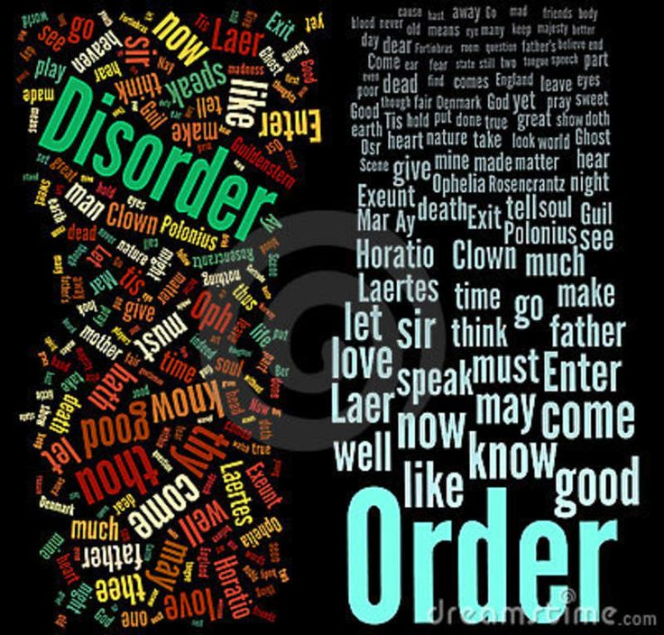 This describes the two words well because the words are surrounded by other words that link. The layout of the words is different for each of them; Disorder is jumbled up/disordered but order is in a pattern/ordered.