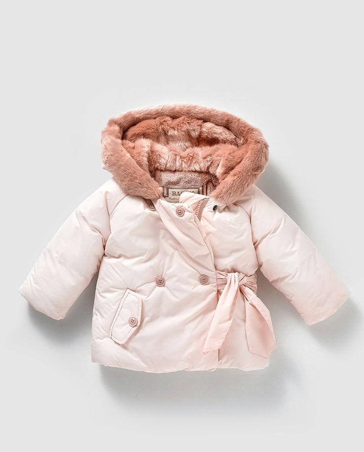 Parka de bebé niña en rosa con capucha