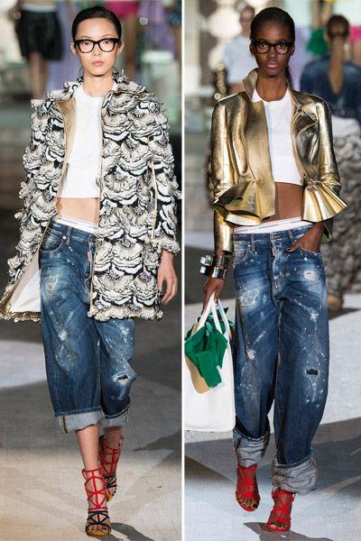 Модные луки с джинсами-бойфрендами из коллекции DSQUARED2 SS 2015