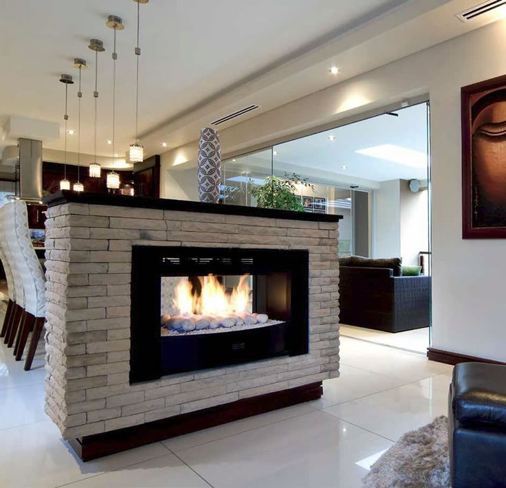Home Styled With Free Standing Two Sided Fireplace Open
