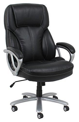 Essentials by OFM Big and Tall Leather Executive Office Chair with Arms Black/Silver