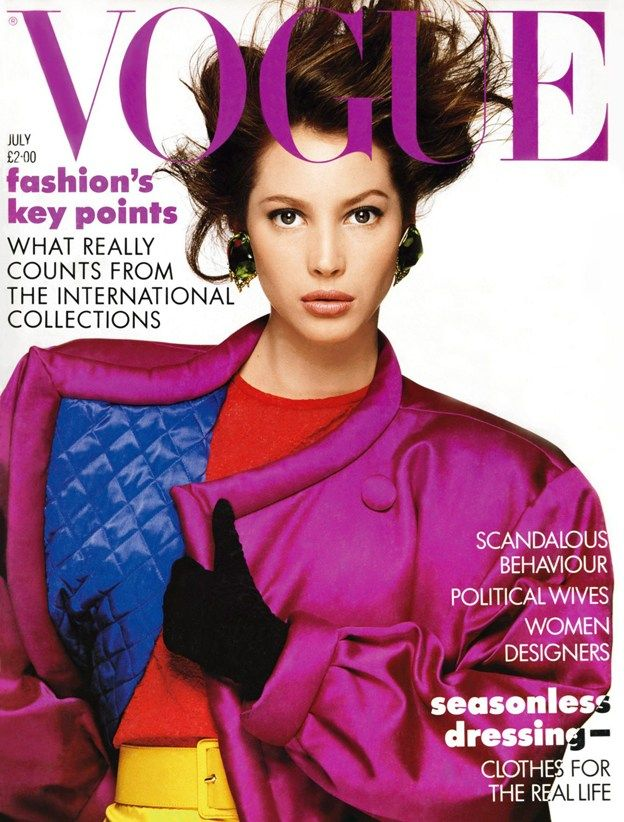 Vintage 1980's Vogue July 1987 - retro hair, earrings and extreme shoulders