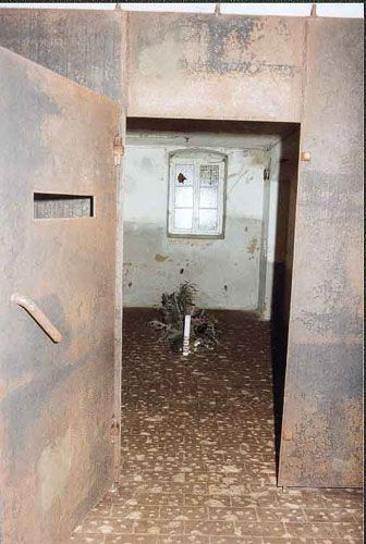 """Gas chamber at the Sonnenstein Euthanasia Clinic in East Germany. In 1940 & 1941, the facility was used by the Nazis to exterminate around 15,000 people. The majority of victims were suffering from psychological disorders & mental retardation, and included inmates from concentration camps. The institute was set up as part of a centrally coordinated & largely secret program called Action T4 for the """"elimination of life unworthy of life"""" or the killing of """"dead weight existences."""""""