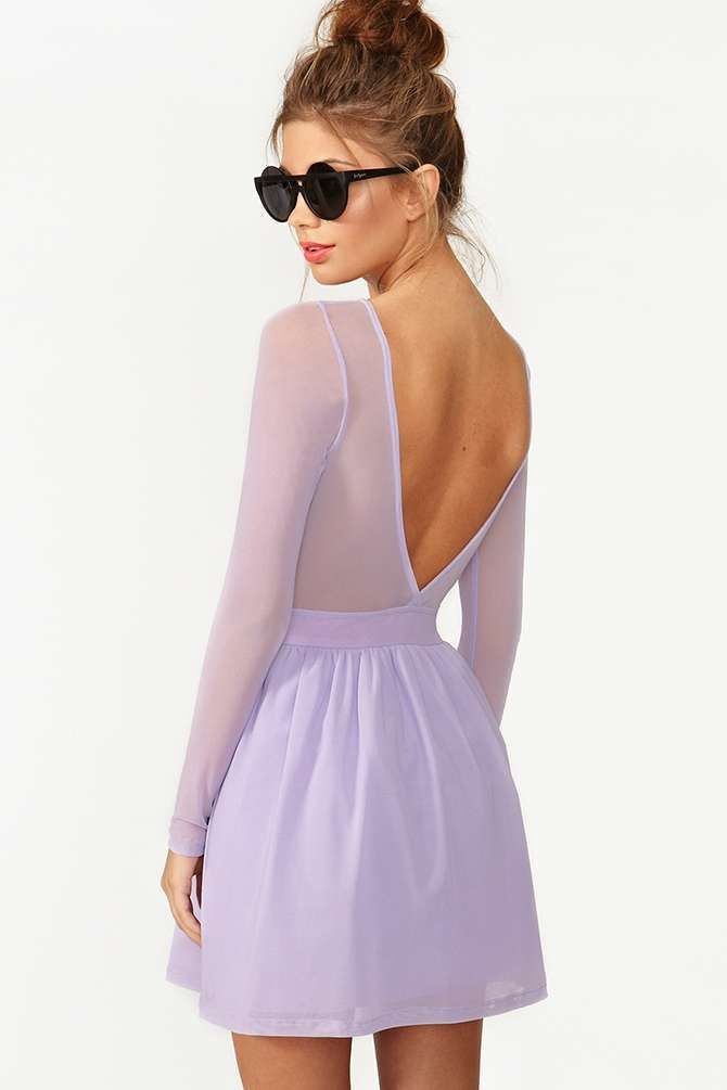 Lilac dress black shoes